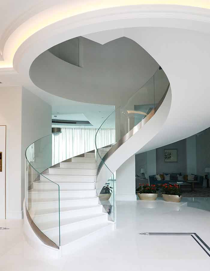 glass stairs and balustrade