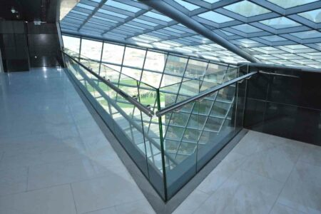 plain glass stairs and balustrade +