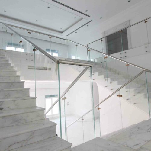 straight glass stairs and balustrade +